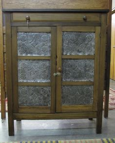Lot: Antique Tin-Door Pie Safe, Lot Number: 0797, Starting Bid: $200, Auctioneer: Wickliff & Associates Auctioneers, Auction: Fine Jewelry, Fine Art, Antiques, Date: January 24th, 2015 GMT Antique Pie Safe, Dry Sink, Country Furniture, China Cabinet, Cupboards, Cabinets, Primitive, Tin, Doors
