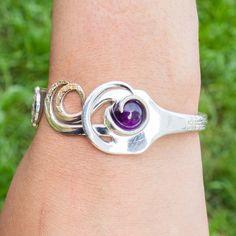 Dark Amethyst Silver Fork Bracelet by BuildaStack on Etsy, $49.99
