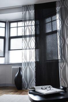 Panneaux Japonais - Voile Flox Noir et Uno Noir - Stores enrouleur tamisant Heytens - Tapis Chanvre Souris - Collection Heytens 2014
