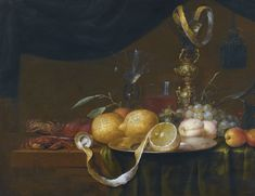 Joris van Son  (1623-1667)  — Still Life with Crabs, Peaches, Apricots, Grapes and a Partly Peeled Lemon, with Glasses Behind, on a Partly-draped Table  (2000x1540)