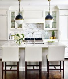 white kitchen // hicks pendants
