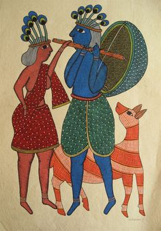 40 Simple And Easy Gond Painting Designs For Art Lovers - Free Jupiter Worli Painting, Kerala Mural Painting, Art Painting Gallery, Indian Art Paintings, Watercolor Paintings, Abstract Paintings, Oil Paintings, Madhubani Art, Madhubani Painting