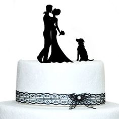 Buythrow Bride and Groom Silhouette Wedding Cake Topper with Dog => Click image to get this special deal : Baking desserts tools