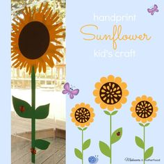 Handprint Sunflower Kid'sCraft;  www.makeoversandmotherhood.com