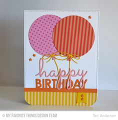 Teri Anderson: A Bit of This. A Bit of That – MFT Countdown: 5 | A bit of this. A bit of that. - 7/2/15.  (MFT dies: Blueprints 26 (balloons); Birthday Centerpieces. MFT paper: Dots & Stripes).  (Pin#1: Dies: MFT. Pin+: Balloons...).