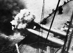 DARDANELLES CAMPAIGN TURKEY 1915 - 1916 (Q 53498)   A battleship fires its 12-inch guns in the Dardanelles Straits in 1915.