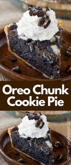 Oreo Chunk Cookie Pie taste like a delicious, melty, warm, Oreo chunk cookie baked into a buttery crisp pie crust and is soft like a cookie just out of the oven.