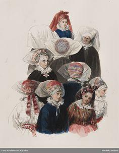 Dräkt. Flera kvinnohuvuden. Akvarell i storformat av J.W. Wallander. Österåker, Sweden.