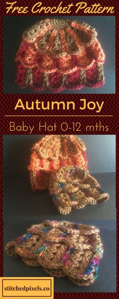 Check out my latest free pattern - The Autumn Joy Baby Hat! In sizes newborn - 1 year. Crochet Baby Hats, Crochet Beanie, Knit Or Crochet, Crochet For Kids, Crochet Crafts, Crochet Stitches, Crochet Projects, Free Crochet, Knitted Hats