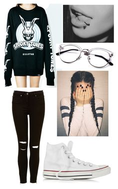 """""""Untitled #1729"""" by george-ryan-ross-the-third ❤ liked on Polyvore featuring Killstar and Converse"""