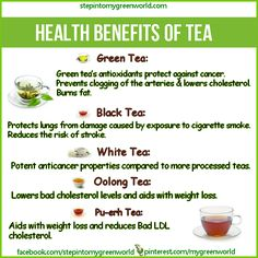 ☛ Do you know the amazing health benefits of Green tea, Pu-erh tea, Oolong tea and White tea?  For more on the extraordinary Pu-erh tea:  http://www.stepintomygreenworld.com/greenliving/greenfoods/pu-erh-tea-the-tonic-for-a-healthy-life  ✒ Share | Like | Re-pin | Comment
