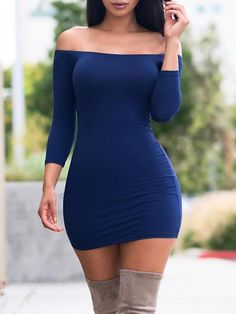 Off Shoulder Solid Sheath Mini Dress dancing everyday outfits shirts tops pants dj club techno skirts tight dresses cocktail evening nightlife nightclub Tight Dresses, Women's Dresses, Cute Dresses, Evening Dresses, Short Dresses, Fashion Dresses, Fashion Clothes, Formal Dresses, Trend Fashion