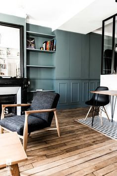ROYAL ROULOTTE PARIS -★- APPARTMENT RENOVATION / HOME DECOR / BLUE WALL / LIVING