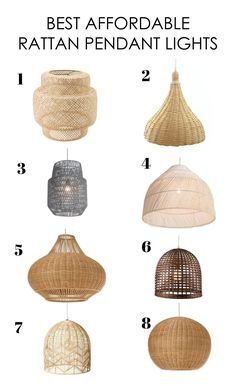 Im in L-O-V-E with rattan/wicker/woven lighting right now, I think it adds so much look to a space. The thing is that they can get super pricey, and I dont k Modern Kitchen Lighting, Kitchen Island Lighting, Kitchen Pendant Lighting, Dining Room Lighting, Rustic Lighting, Home Lighting, Lighting Ideas, Pendant Lighting Bedroom, Pendant Lamps