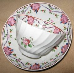 C.1790 ENGLISH PORCELAIN SPIRAL WAIST TEA BOWL & SAUCER QUEENS ROSE DECORATION