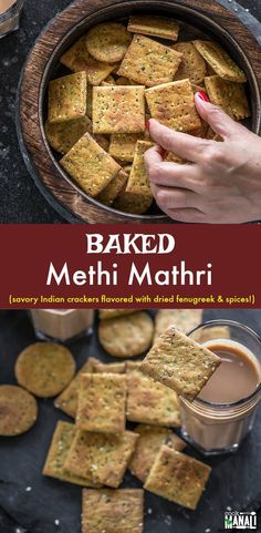 Indian snack recipes - Baked Methi Mathri (Savory Crackers) flavored with dried fenugreek leaves and a bunch of other spices! This healthier version of the traditional mathri is easy to make and best enjoyed with chai! Healthy Indian Snacks, Vegetarian Snacks, Savory Snacks, Easy Snacks, Diet Snacks, Tea Time Snacks, Mathri Recipe, Dosa Recipe, Baking Recipes