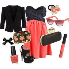 coral, black, gold, girly, bows <3
