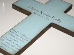 Personalized Christian Cross With Poem- Beautiful Baptism Gift for in Blue for a Boy or Pink for a Girl. $39.00, via Etsy.