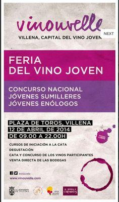 """#Villena acoge, este 12 de abril, La Feria del Vino Joven, """"Vinouvelle"""" Una gran fiesta del vino. Concurso nacional para jóvenes sumilleres y jóvenes enólogos, catas, gastronomía y mucho más…. #CostaBlanca #Tuplancostablanca #Gastronomiacostablanca"""