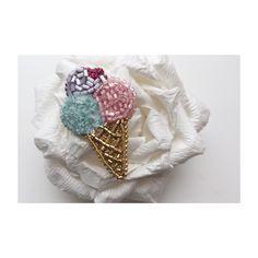 Брошь мороженое Embroidered bead brooch  ice cream . Bead jewelry