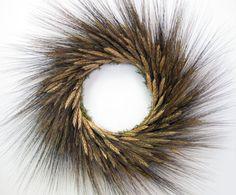 Large black beard wheat dried flower wreath