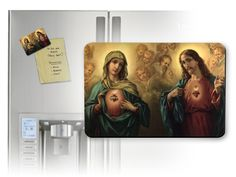 Sacred & Immaculate Hearts Surrounded by Angels Magnet - Catholic to the Max - Online Catholic Store $5 magnet