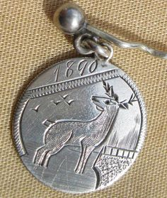 Sterling Silver 1890 Love Token Coin Medallion Charm Stick Pin from cousinsantiques on Ruby Lane