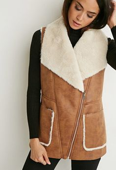 Faux Shearling Moto Vest | Forever 21 Canada | Was CAD $45.90 Now CAD $21.99