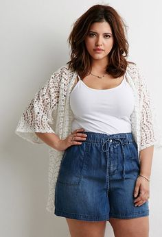 FOREVER 21 Chambray Drawstring Shorts (Plus Size) - woman plus size fashion Look Plus Size, Curvy Plus Size, Plus Size Casual, Plus Size Jeans, Plus Size Women, Plus Size Style, Curvy Outfits, Short Outfits, Casual Outfits