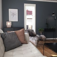 [ the light ]… Living Area, Living Spaces, Living Room, St Pauls Blue, Grey Headboard, Black Furniture, Blue Bedroom, Interior Design, Paint