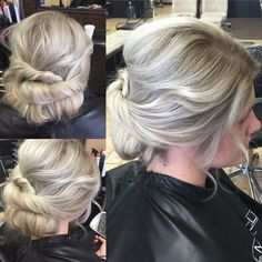 Fun color today! She started with a1/4 inch  level 6 natural root and 1 inch level 7 yellow/ golden band and then level 10 pale yellow mid shaft and ends. She likes the rooted look to make the platinum softer so I shadowed her blonde with 2 formulas of ash natural and pearl natural , toned with violet and #olaplex to condition,and I Love the results! #paulmitchell #balyage #shadowblonde #updo #hairbywhitneyw @megtmann