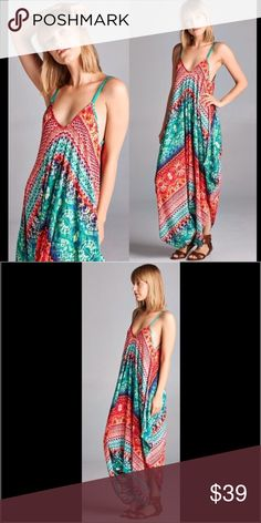 ⏬REDUCED⏬ Emerald Crepon Harem Jumpsuit Price is for one jumpsuit. Batik style print jumpsuit fashioned into harem jumpsuit. Adjustable silky straps. Crepon fabric. Does not stretch. One size. Fits up to size 16. Made in U.S.A.. Brand new retail w/o tags. No trades, no holding, no off App transactions.     PRICE IS FIRM UNLESS BUNDLED                  5% off bundles  Pants Jumpsuits & Rompers
