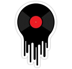 'Liquid Vinyl Record' Sticker by Dina June Toomey Liquid Sound sticker. Minimalist illustration of a black and red vinyl record melting on a beige/gray background. A depiction of the smooth, rich music produced by an exceptional sound-producing medium. Tumblr Stickers, Phone Stickers, Cool Stickers, Printable Stickers, Macbook Stickers, Retro Wallpaper, Aesthetic Stickers, Glossier Stickers, Sticker Design