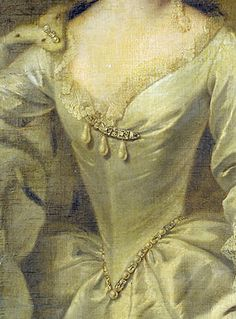 Diamond broach with three drop pearls closure to front of cream silk bodice. Fine lace to neckline. Pearl and diamond girdle at waist; pearl clasp closure at right shoulder pinning ermine cloak. Detail from Portrait of Princess Mary, daughter of George II, 1727.