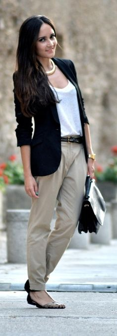 Printed flats casual business outfit