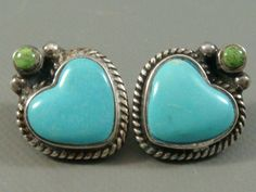 Vintage MARY MORGAN Navajo STERLING Silver & SKY BLUE Turquoise *HEART* Earrings