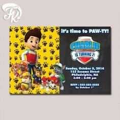 PAW Patrol Party Chalkboard Birthday Party Card Digital Invitation Kid Birthday…