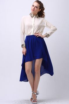for blue high-low: white button down with sparkle cuffs and collar