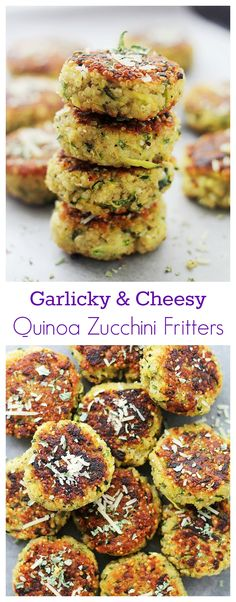 These Garlicky & Cheesy Quinoa Zucchini Fritters are packed with quinoa + zucchini. One of my favorite summer zucchini recipes, they're delicious and easy! Easy Zucchini Recipes, Veggie Recipes, Appetizer Recipes, Vegetarian Recipes, Cooking Recipes, Healthy Recipes, Appetizers, Quinoa Zucchini, Zucchini Fritters