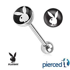PLAYBOY BUNNY SILVER STEEL TONGUE RING $7.99
