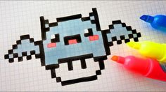 Handmade Pixel Art - How To Draw Kawaii Bat Mushroom #pixelart #Halloween
