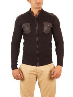 Stylish black woolen sweater by Avva. Visit http://www.designerkapde.com today.