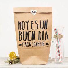 "Pack de 5 bolsas kraft ""Hoy es un buen día para sonreír""  -  Mr. Wonderful"