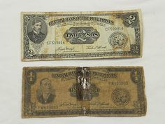 1949 PHILIPPINE PESO Paper Money Currency Vintage 1 Peso and 2 Peso