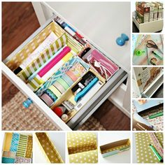 Line the insides of cereal boxes with patterned papers and arrange them in a drawer to keep your office supplies sorted. I 31 Things You Can Make Out Of Cereal Boxes
