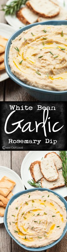 White Bean Garlic Dip - Smooth, creamy, healthy, and gluten-free. Guilt-free appetizer/snack for any party. Great as a sandwich spread, too. Garlic makes this white bean dip amazing!c (Vegan Dip) Vegan Appetizers, Appetizer Recipes, Mexican Appetizers, Halloween Appetizers, Delicious Appetizers, Avacado Appetizers, Party Appetizers, Prociutto Appetizers, Party Snacks