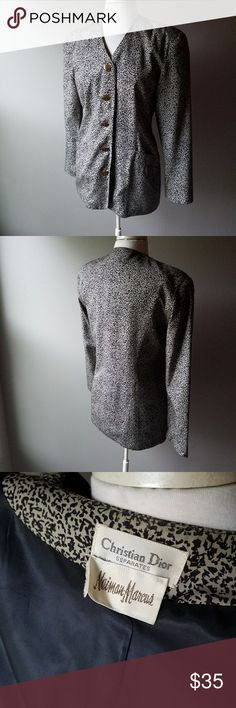 Vintage Christian Dior Animal Print Jacket Large Gorgeous vintage Christian Dior Animal Print Jacket. Relaxed fit with chic collarless cut. Buttons up the front with Brown buttons. 1 tiny stain pictured. Price reflects condition. Christian Dior Jackets & Coats Blazers
