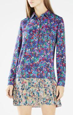 Bradyn Floral Print-Blocked Shirt Dress