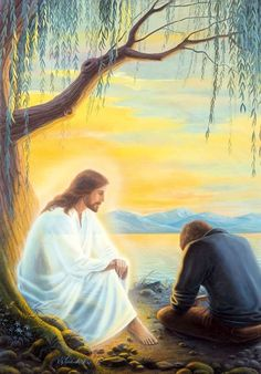 ♡ I love Jesús ♡ Sometimes you just have to have a one on one to get a clearer perspective. Talking with Jesus under the weeping willow tree, prophetic art. Pictures Of Jesus Christ, Religious Pictures, Jesus Art, Jesus Is Lord, I Love Jesus, Jesus Loves You, Image Jesus, Jesus Painting, Saint Esprit