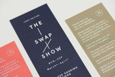 Gorgeous identity for The Swap Show designed by Foreign Policy . The Swap Show is an exhibition exchange bet. Design Strategy, Tool Design, Ticket Card, Ticket Design, Blog Design Inspiration, Graphic Quotes, Design Graphique, Foreign Policy, Personal Branding